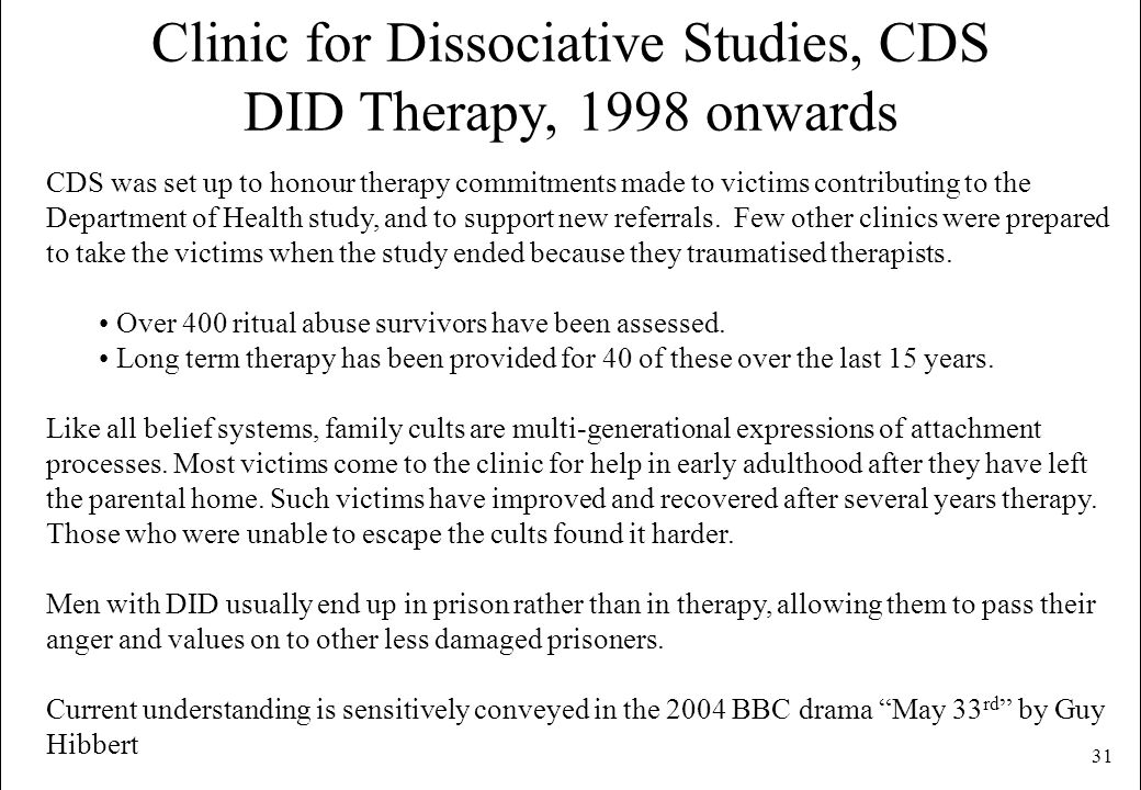 Clinic for Dissociative Studies, CDS DID Therapy, 1998 onwards