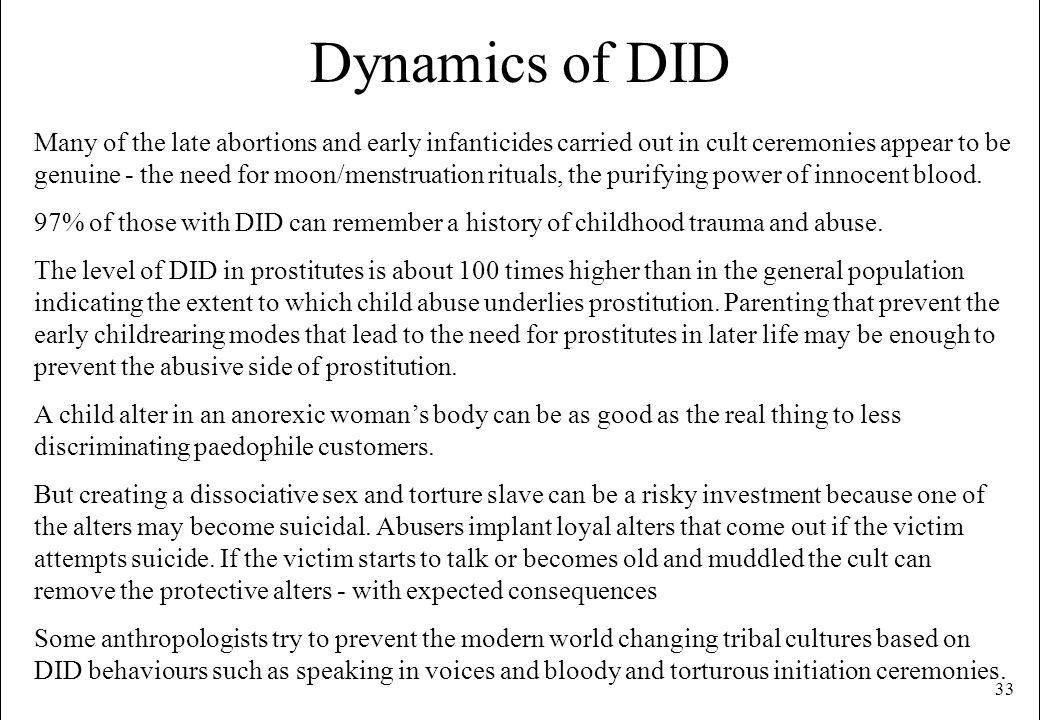 Dynamics of DID