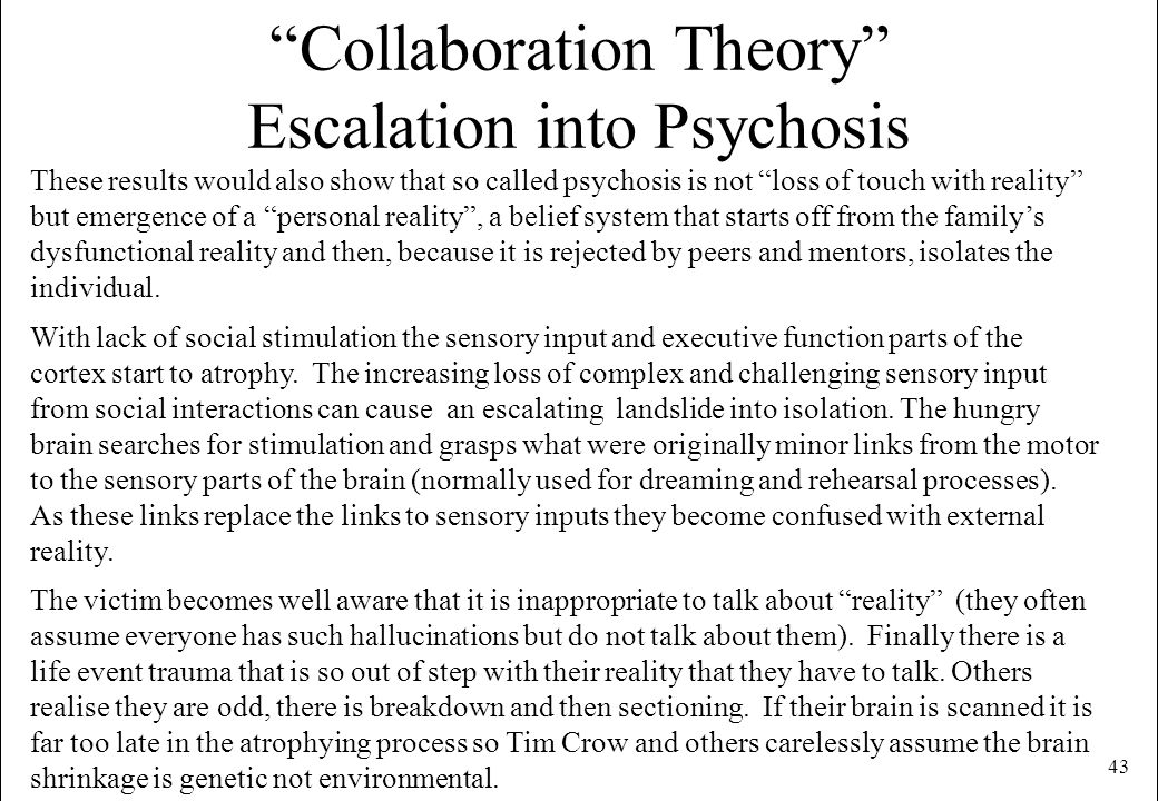 Collaboration Theory Escalation into Psychosis