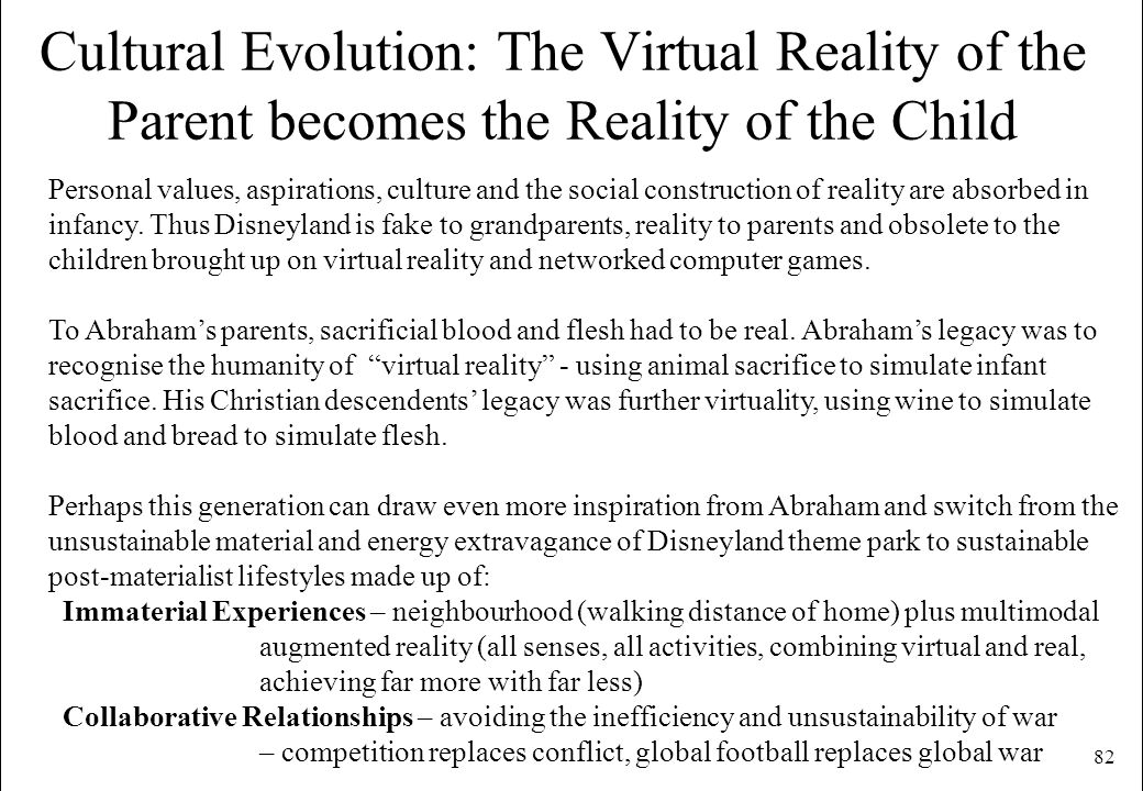 Cultural Evolution: The Virtual Reality of the Parent becomes the Reality of the Child