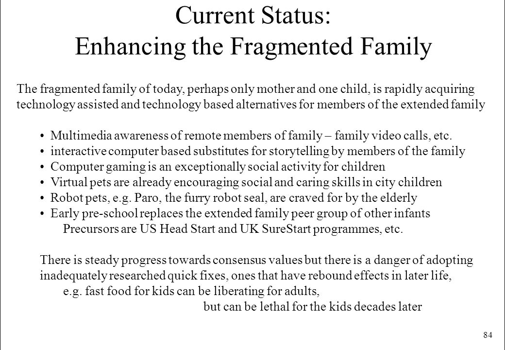 Current Status: Enhancing the Fragmented Family