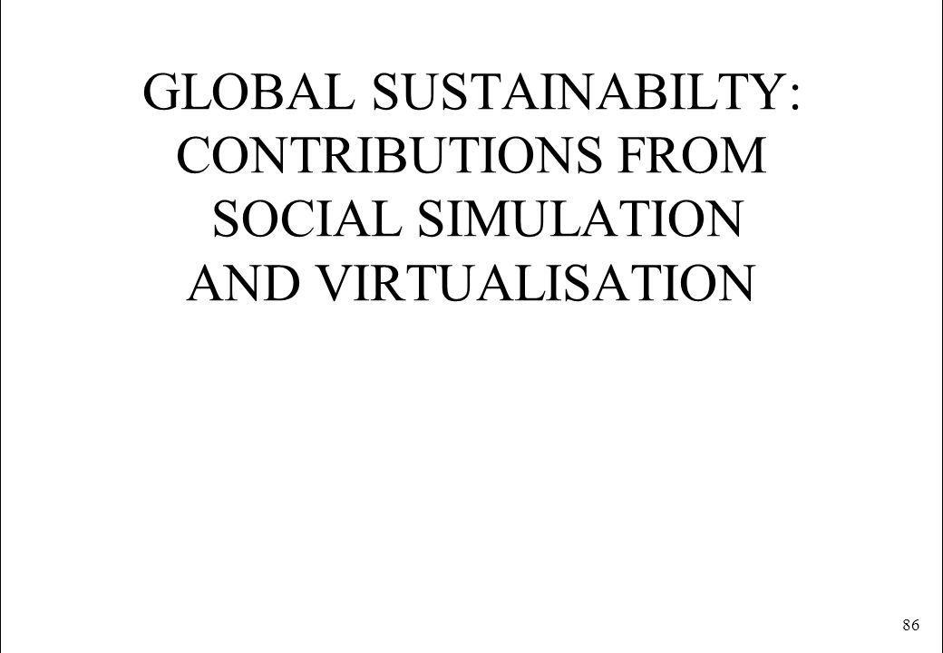 GLOBAL SUSTAINABILTY: CONTRIBUTIONS FROM SOCIAL SIMULATION AND VIRTUALISATION