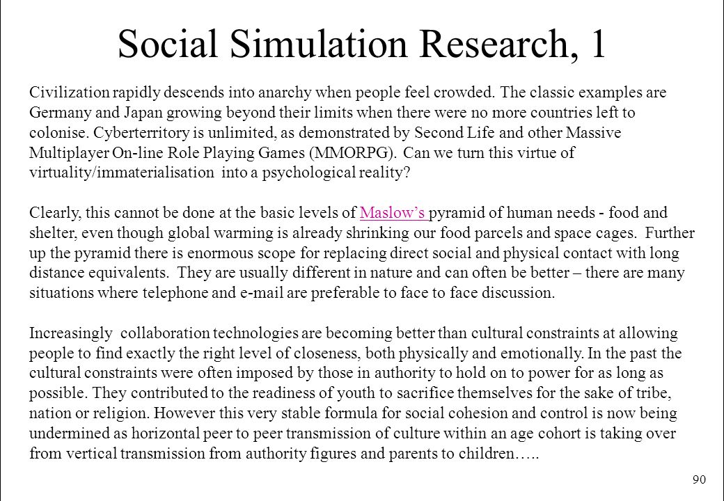 Social Simulation Research, 1