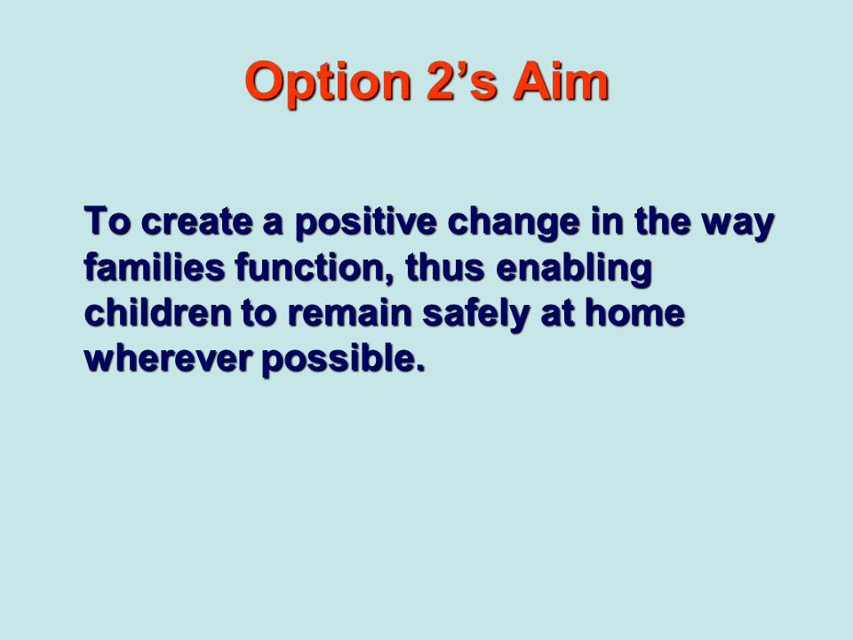 Option 2's Aim To create a positive change in the way families function, thus enabling children to remain safely at home wherever possible.