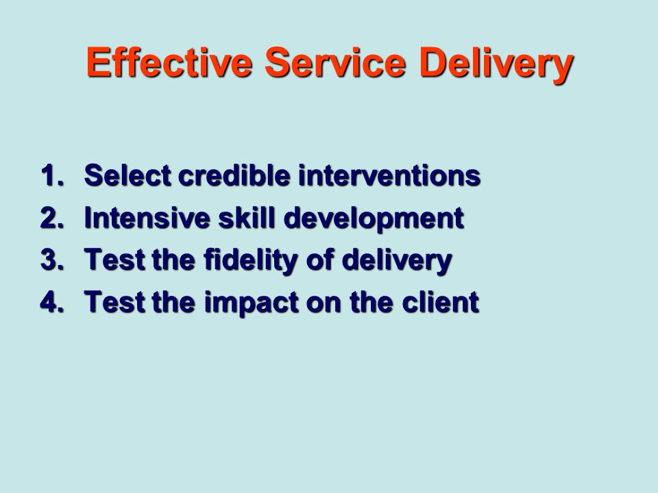 Effective Service Delivery