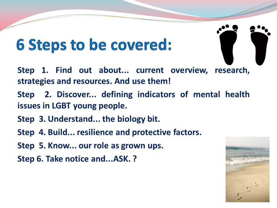 6 Steps to be covered: Step 1. Find out about... current overview, research, strategies and resources. And use them!