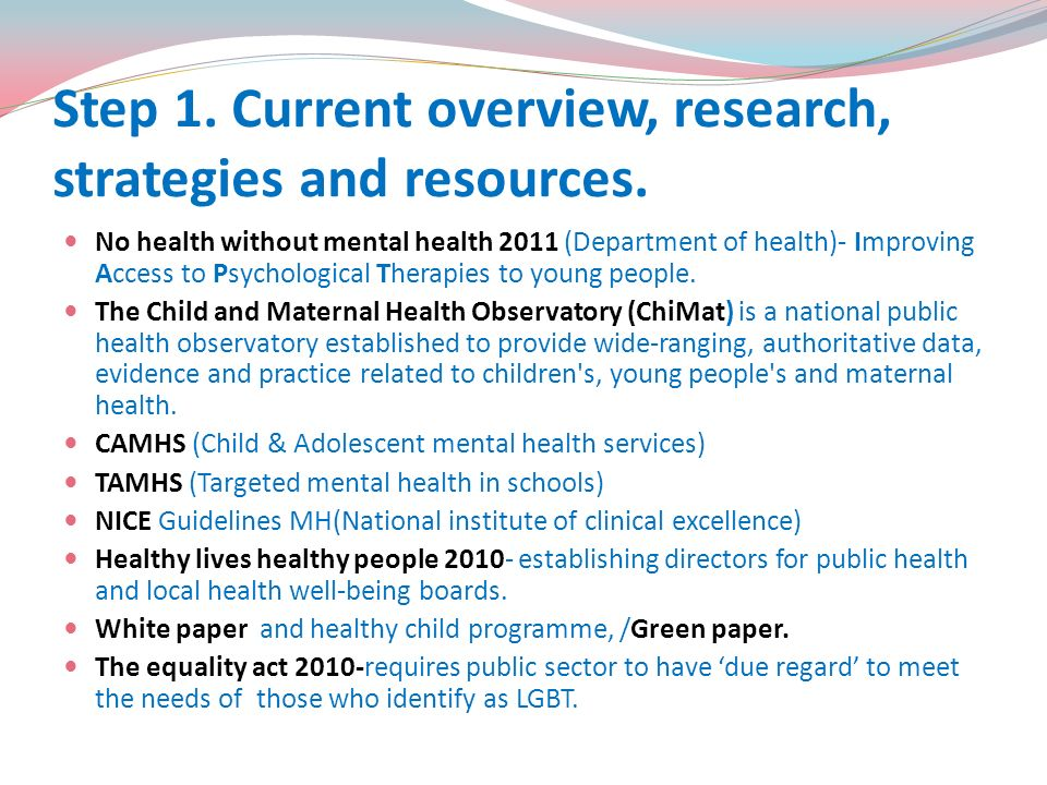 Step 1. Current overview, research, strategies and resources.