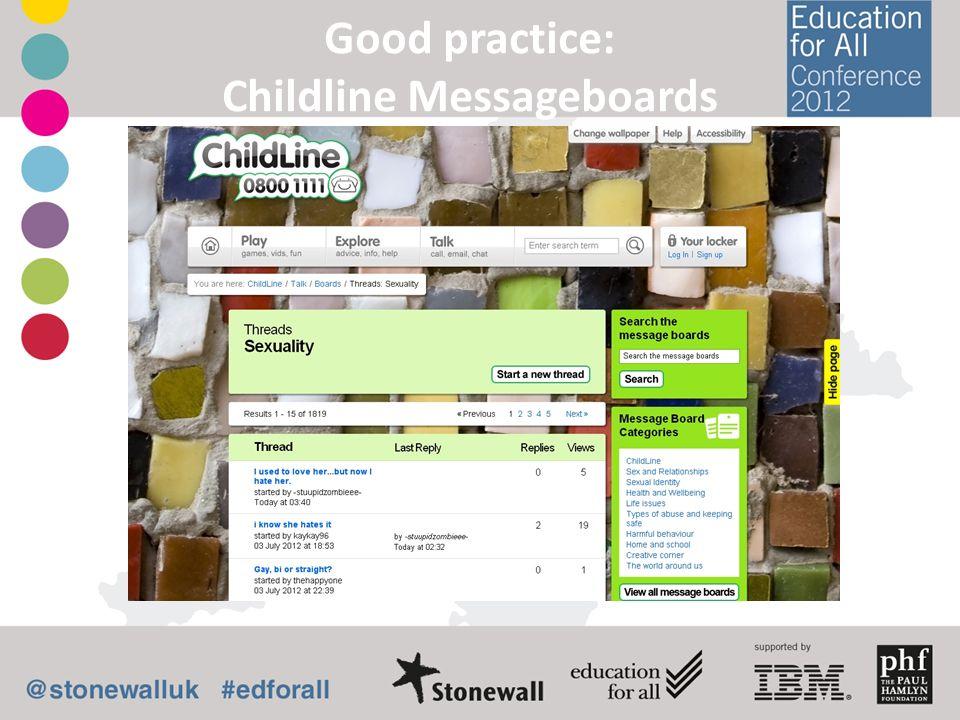 Good practice: Childline Messageboards