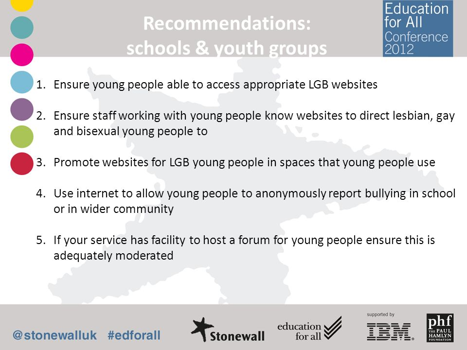 Recommendations: schools & youth groups