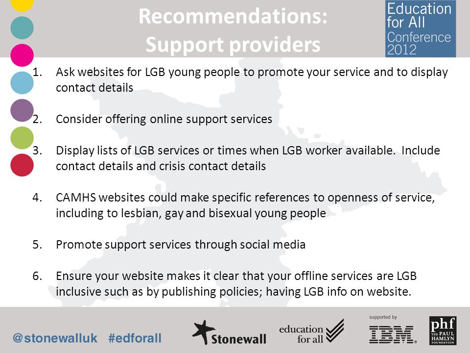 Recommendations: Support providers