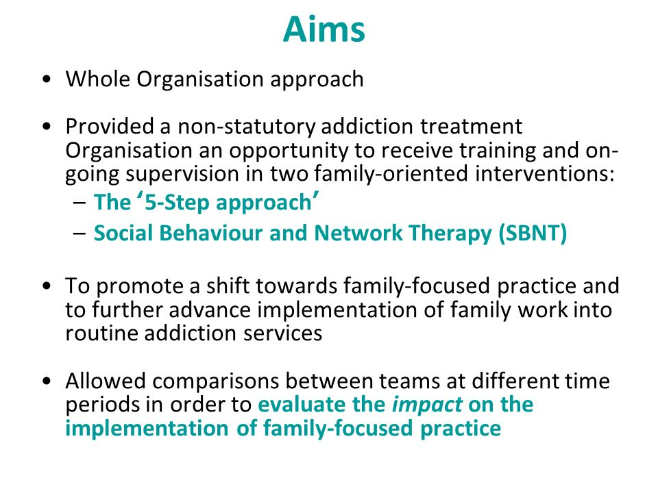 Aims Whole Organisation approach