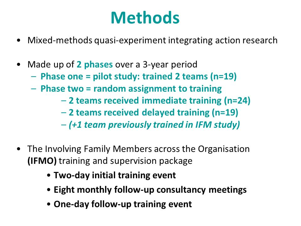 Methods Mixed-methods quasi-experiment integrating action research