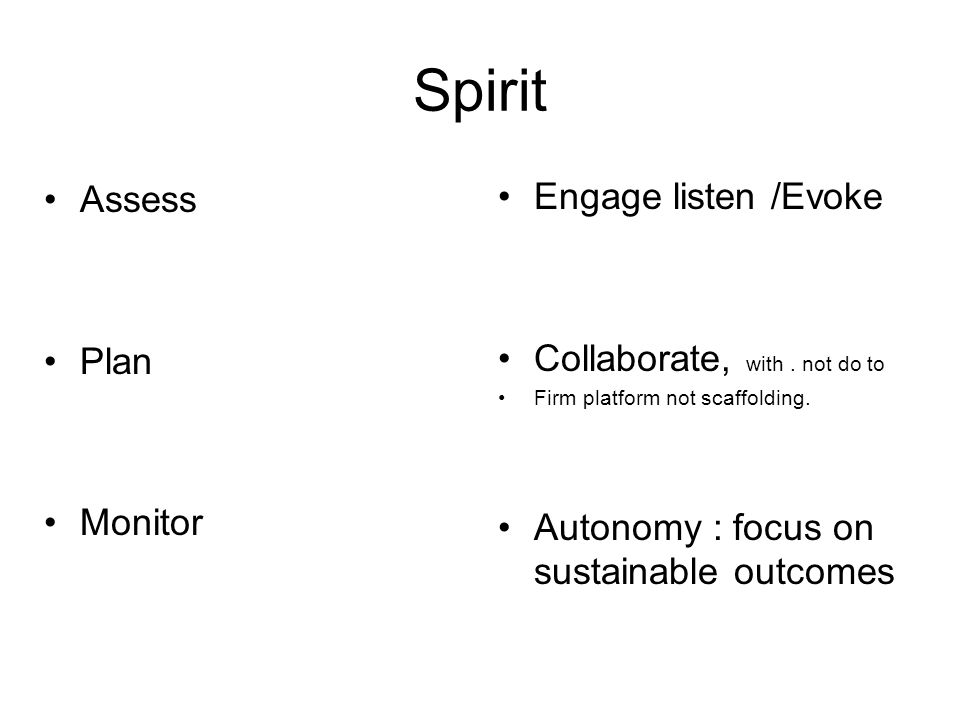 Spirit Assess Engage listen /Evoke Plan Collaborate, with . not do to