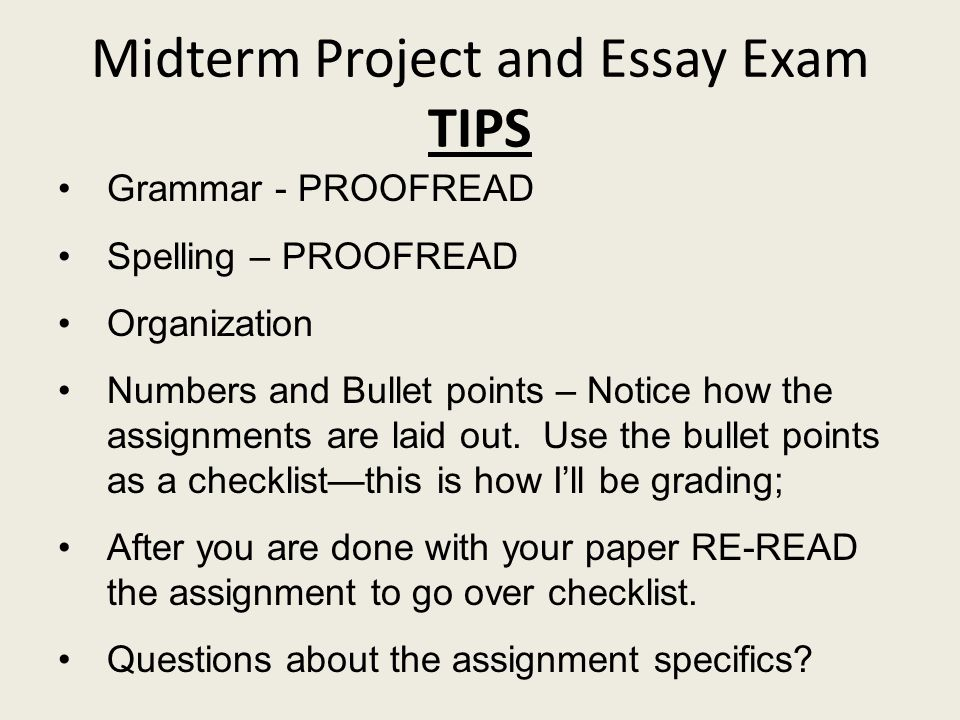 midterm exam essay Isas600 mid-term exam: due by 11:59 pm, sunday, 3/4/2012 - post your answers in the assignments section of the classroom prepare your answers in a microsoft word document in apa format which included the title page, paragraph formats, cites and references.
