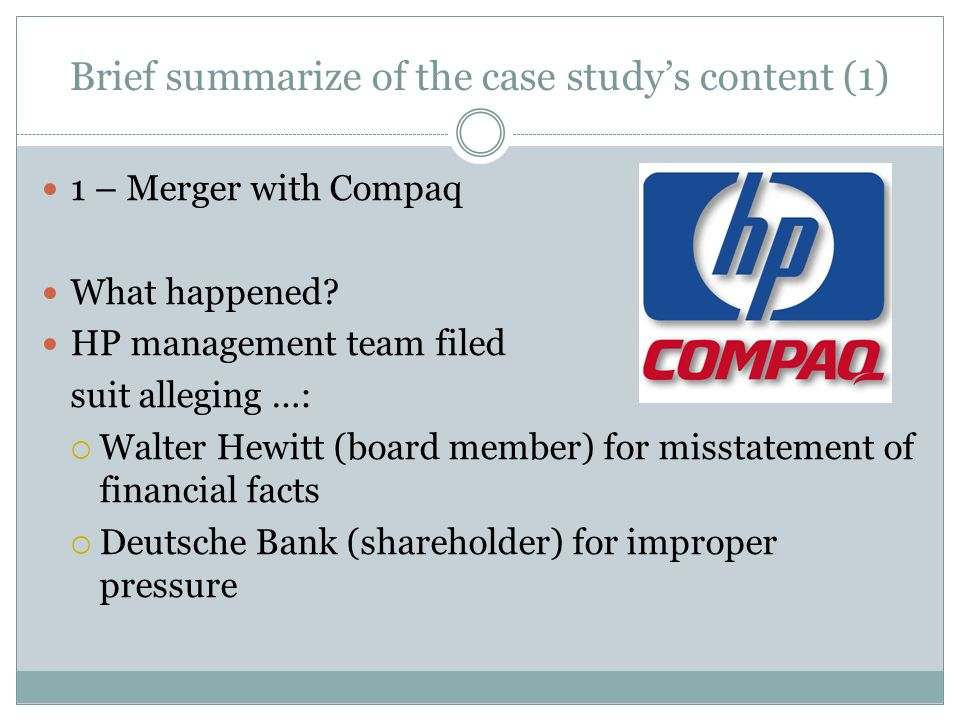 hp compaq merger In the old days, the conventional wisdom on wall st was that mergers were exciting, they created value, they just were goodand the bigger the merger.