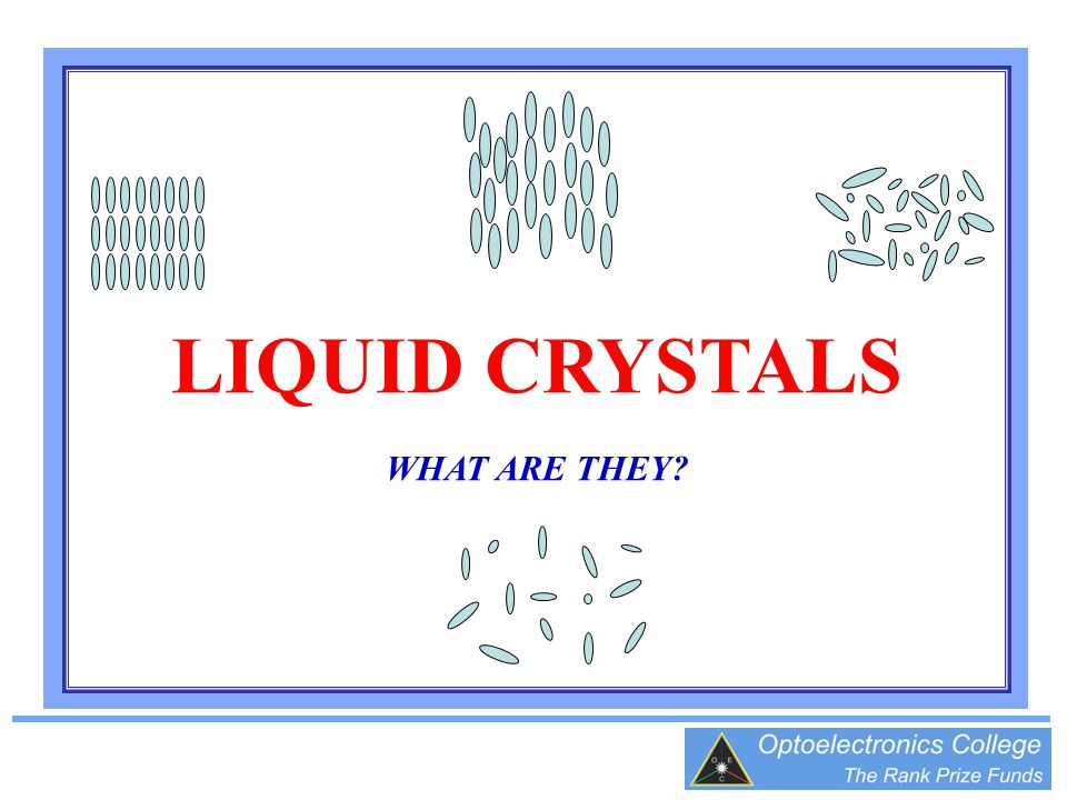 LIQUID CRYSTALS WHAT ARE THEY