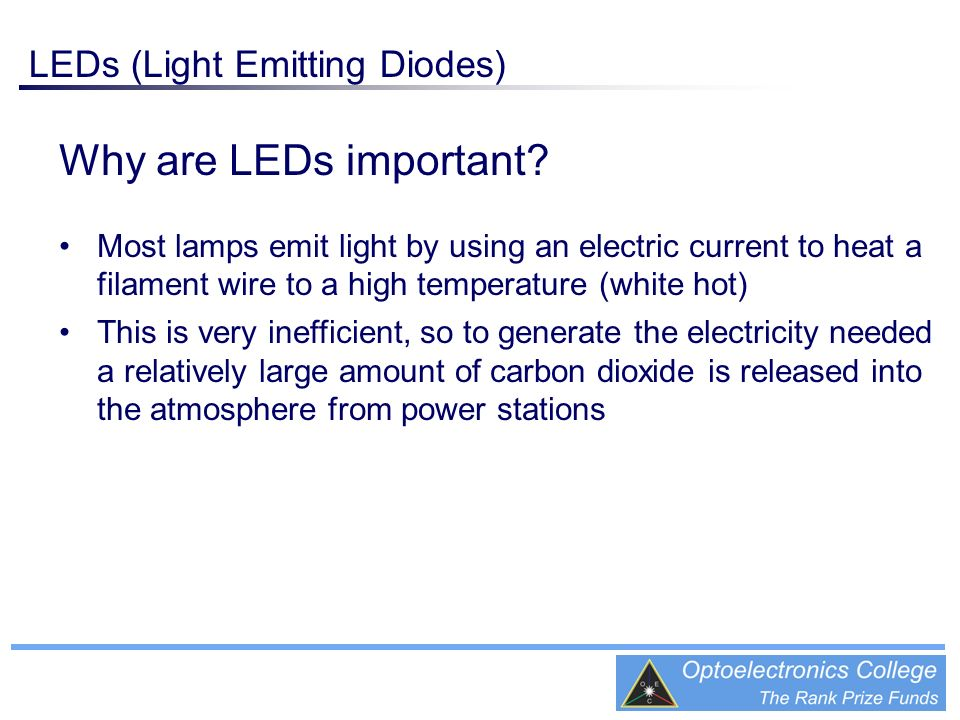 Why are LEDs important LEDs (Light Emitting Diodes)