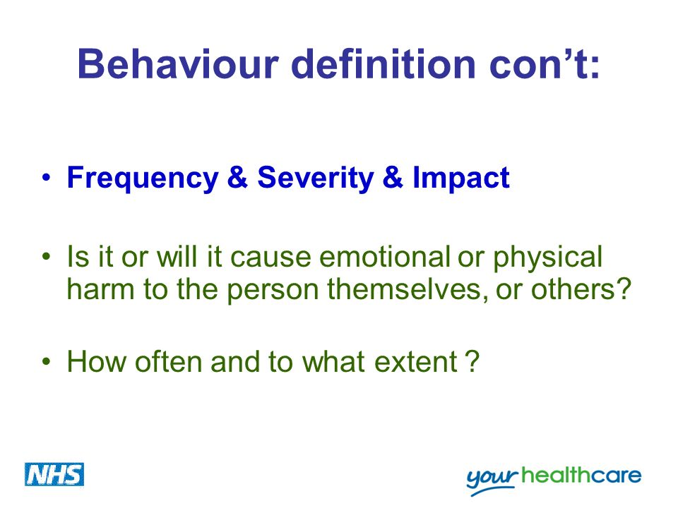 Behaviour definition con't:
