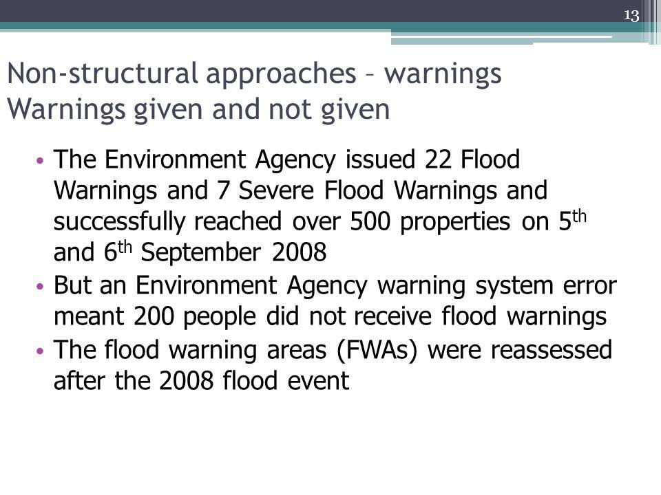 Non-structural approaches – warnings Warnings given and not given