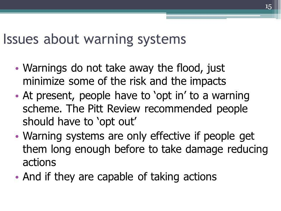 Issues about warning systems