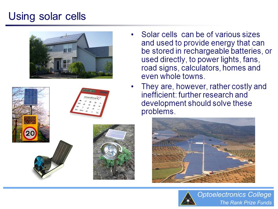 Using solar cells