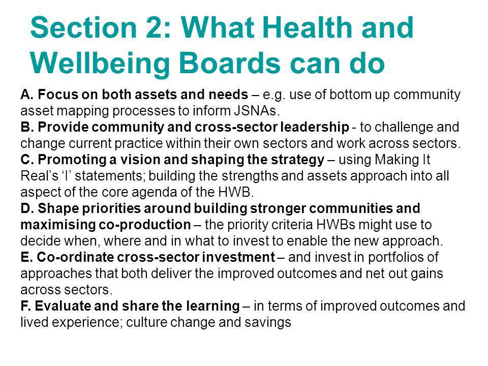 Section 2: What Health and Wellbeing Boards can do
