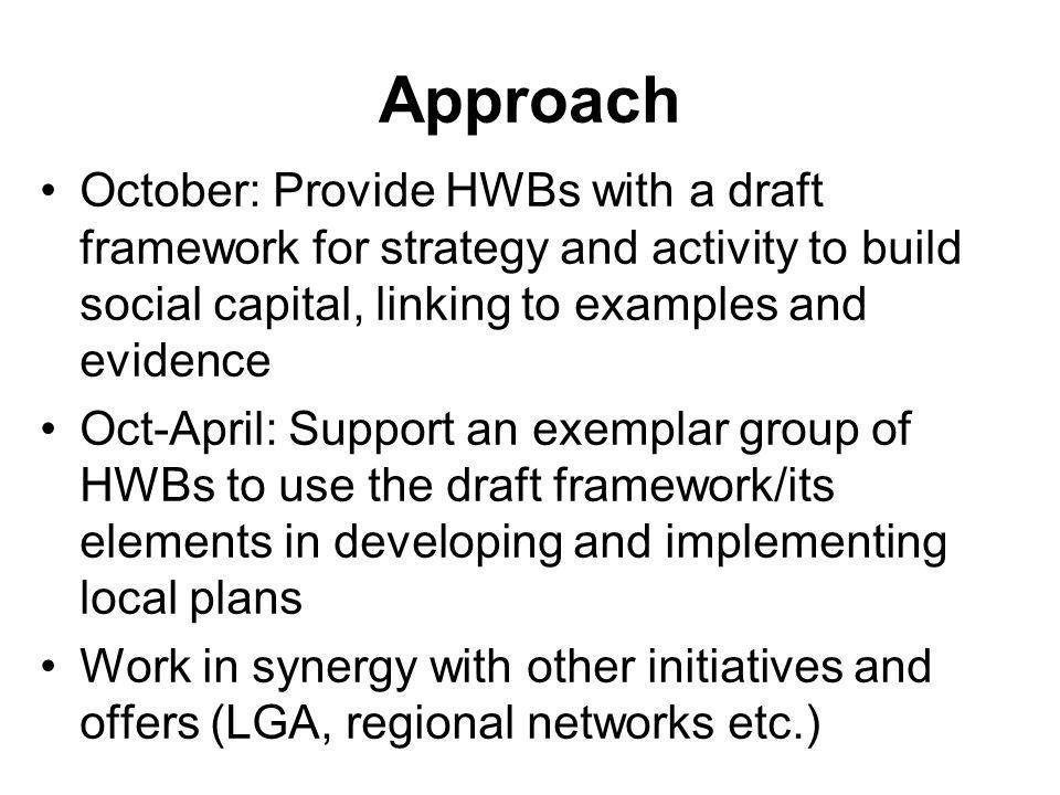 Approach October: Provide HWBs with a draft framework for strategy and activity to build social capital, linking to examples and evidence.