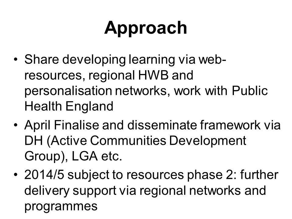 Approach Share developing learning via web-resources, regional HWB and personalisation networks, work with Public Health England.