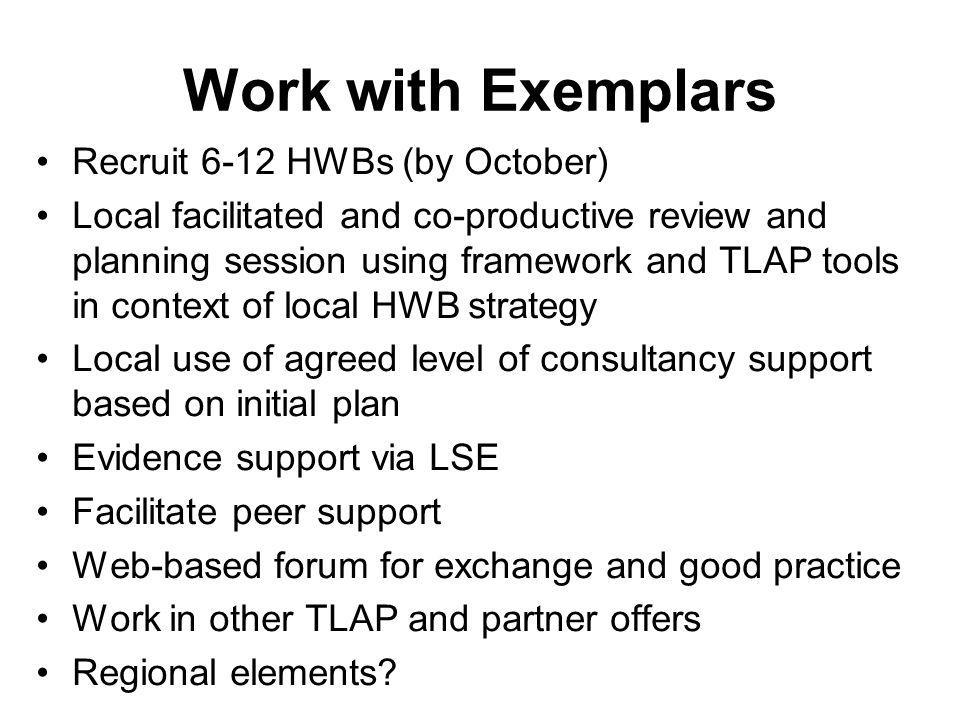 Work with Exemplars Recruit 6-12 HWBs (by October)