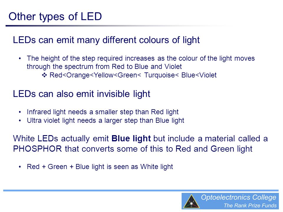Other types of LED LEDs can emit many different colours of light