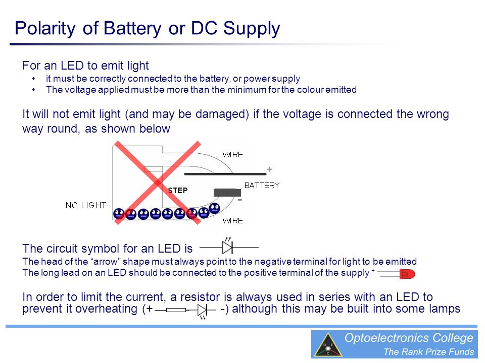 Polarity of Battery or DC Supply