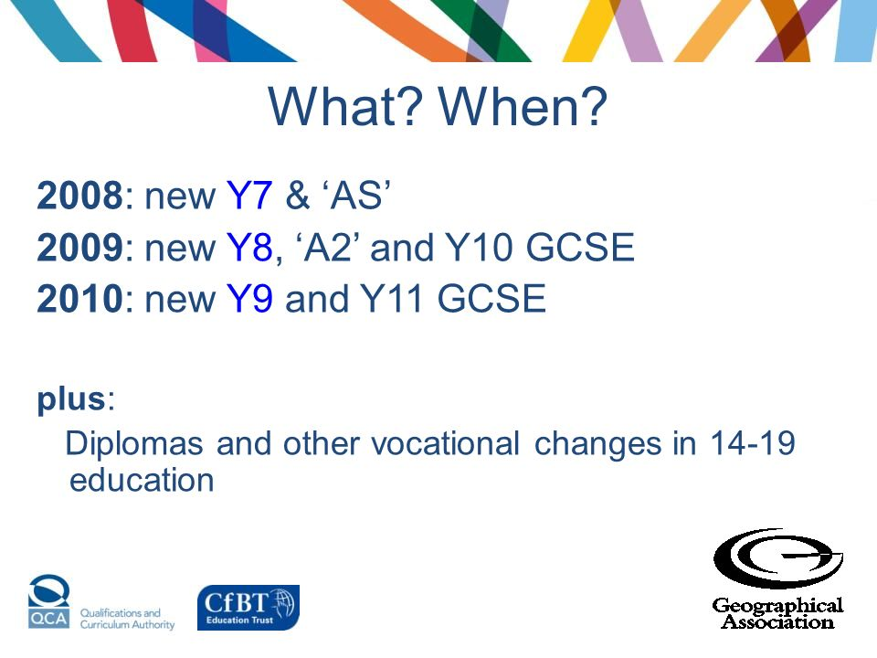 What When 2008: new Y7 & 'AS' 2009: new Y8, 'A2' and Y10 GCSE