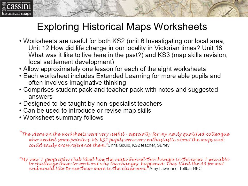 Linking Geography History in the Classroom Penny Locke Cassini – Maps Worksheets