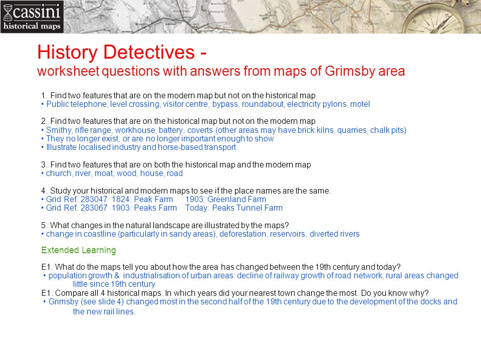 History Detectives - worksheet questions with answers from maps of Grimsby area