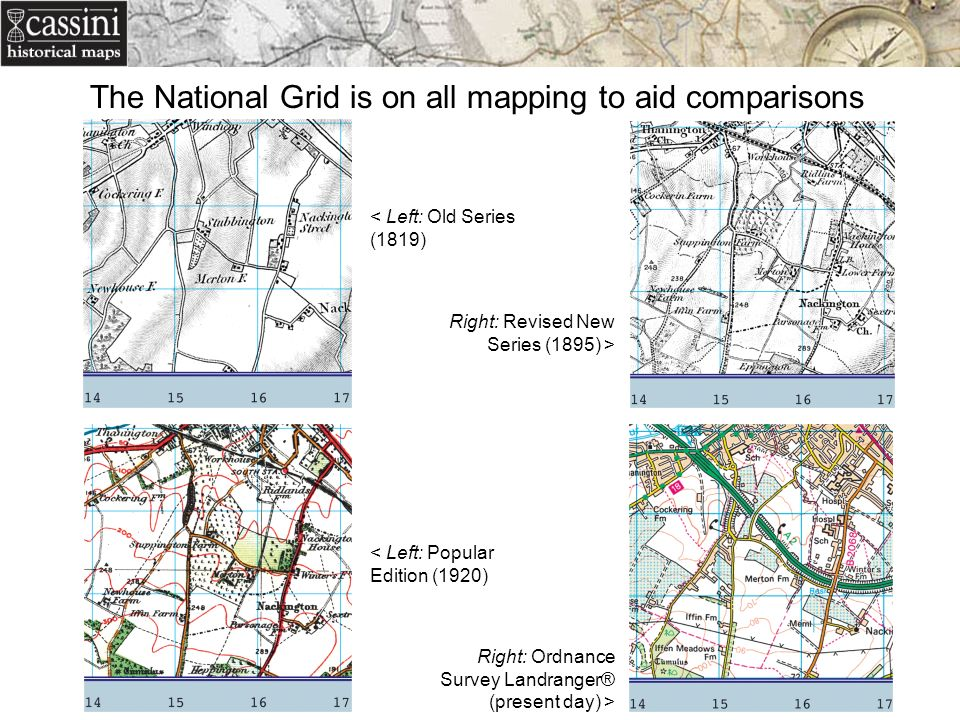 The National Grid is on all mapping to aid comparisons