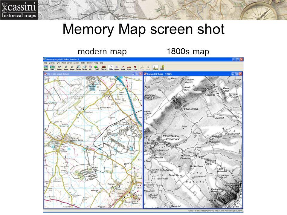 Memory Map screen shot modern map 1800s map