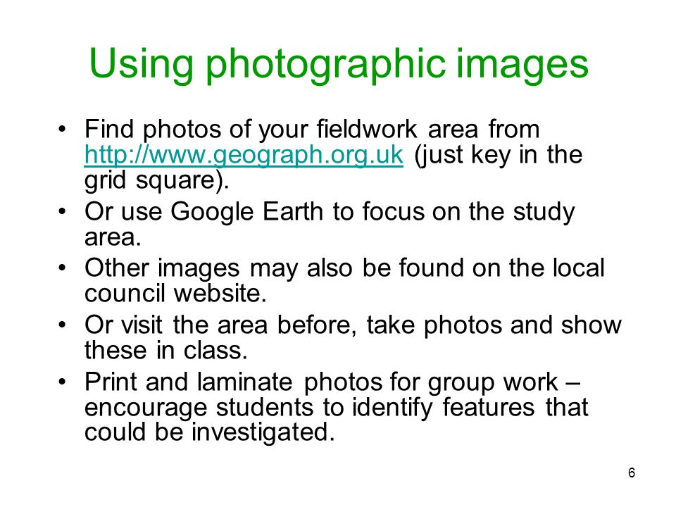 Using photographic images