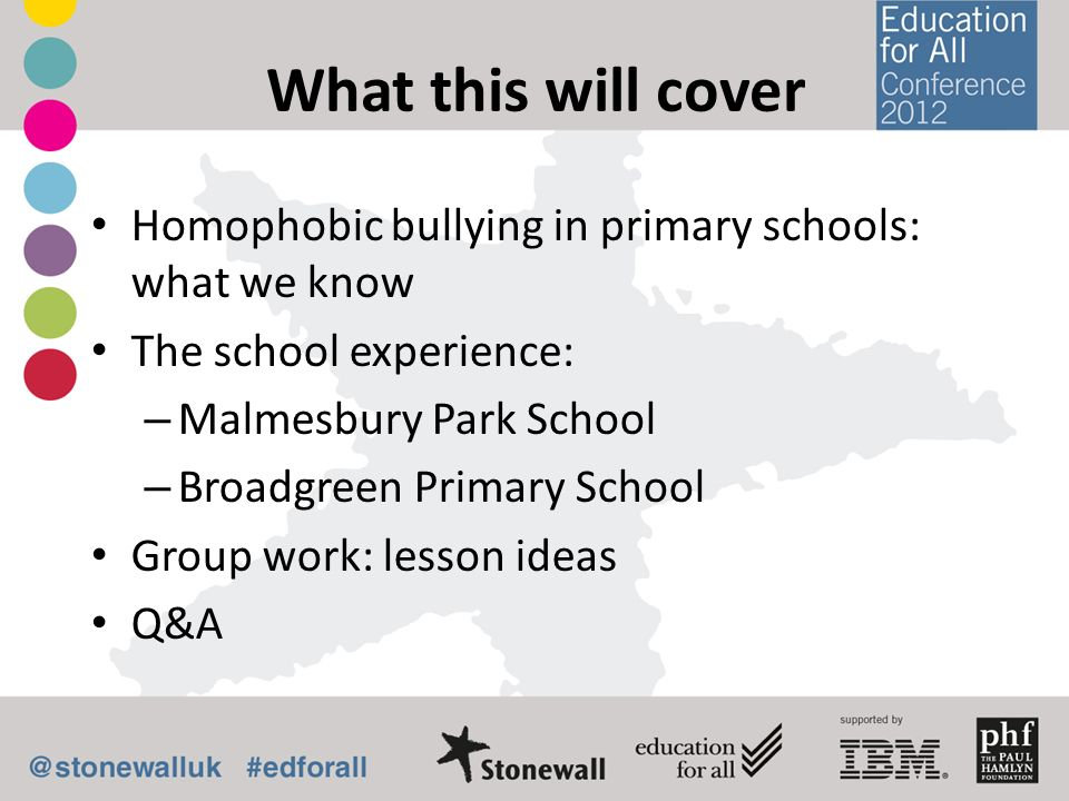 What this will cover Homophobic bullying in primary schools: what we know. The school experience: