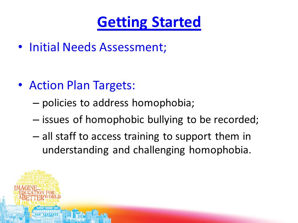 Getting Started Initial Needs Assessment; Action Plan Targets: