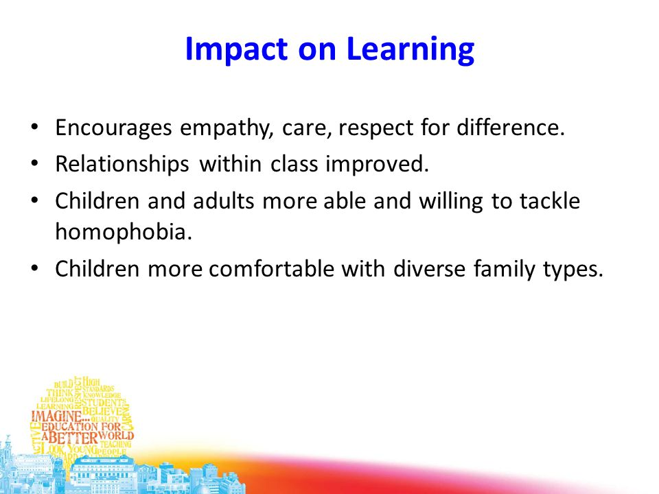 Impact on Learning Encourages empathy, care, respect for difference.