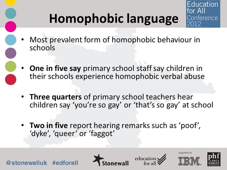 Homophobic language Most prevalent form of homophobic behaviour in schools.