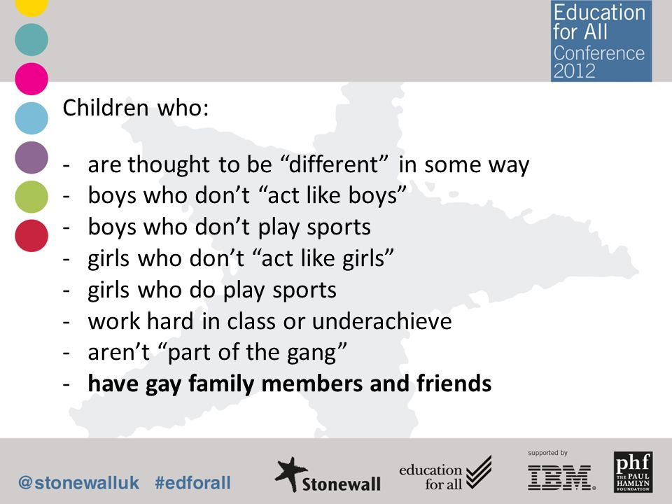 Children who: are thought to be different in some way. boys who don't act like boys boys who don't play sports.