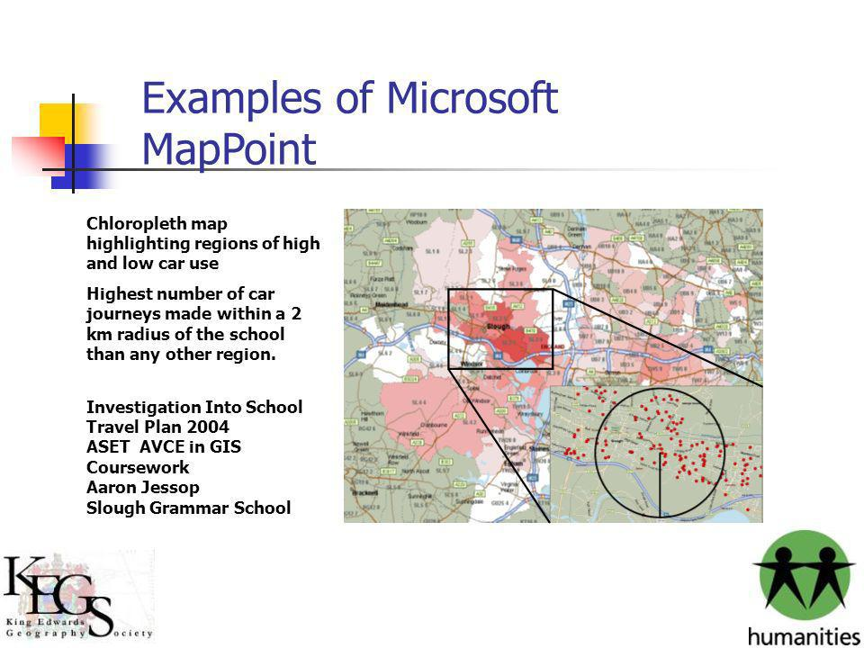 Examples of Microsoft MapPoint