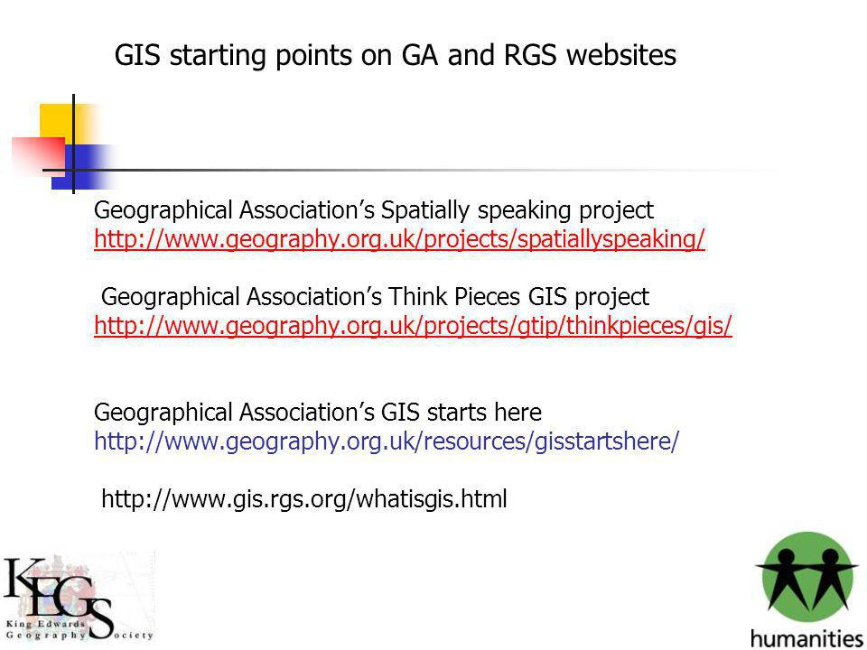 GIS starting points on GA and RGS websites