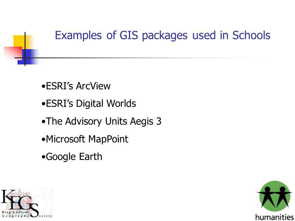 Examples of GIS packages used in Schools