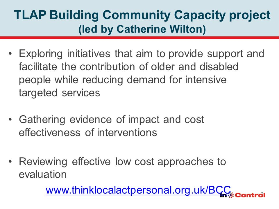 TLAP Building Community Capacity project (led by Catherine Wilton)