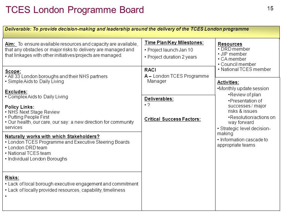 TCES London Programme Board