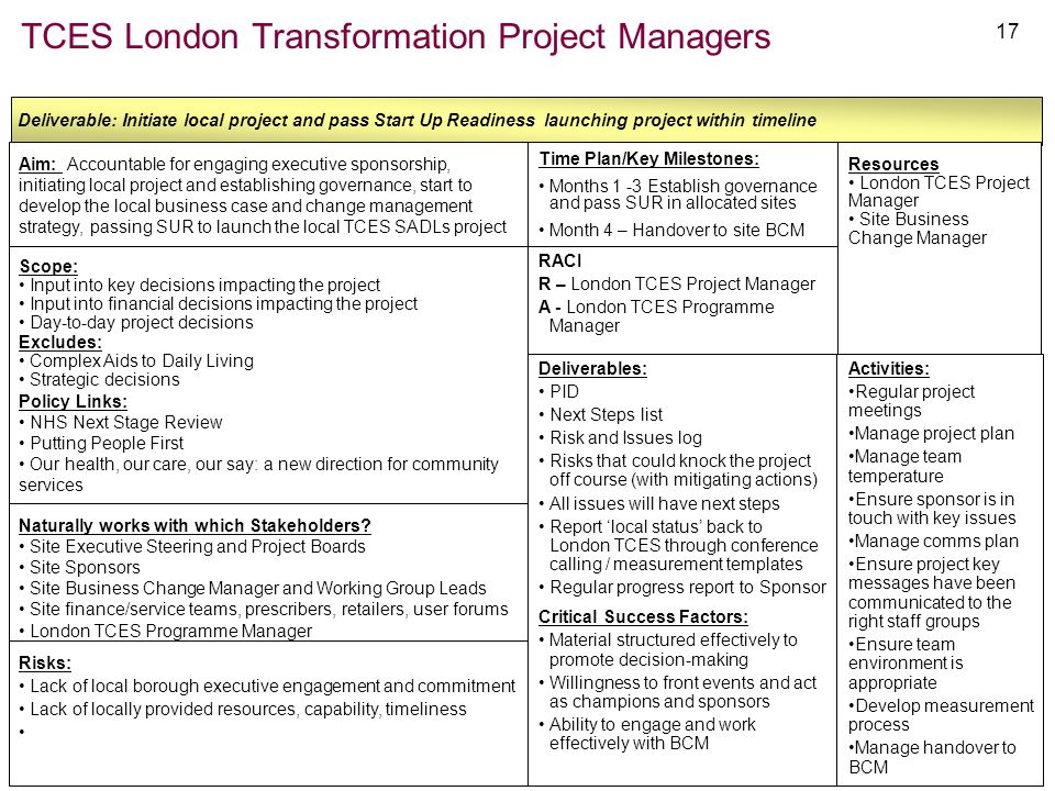 TCES London Transformation Project Managers
