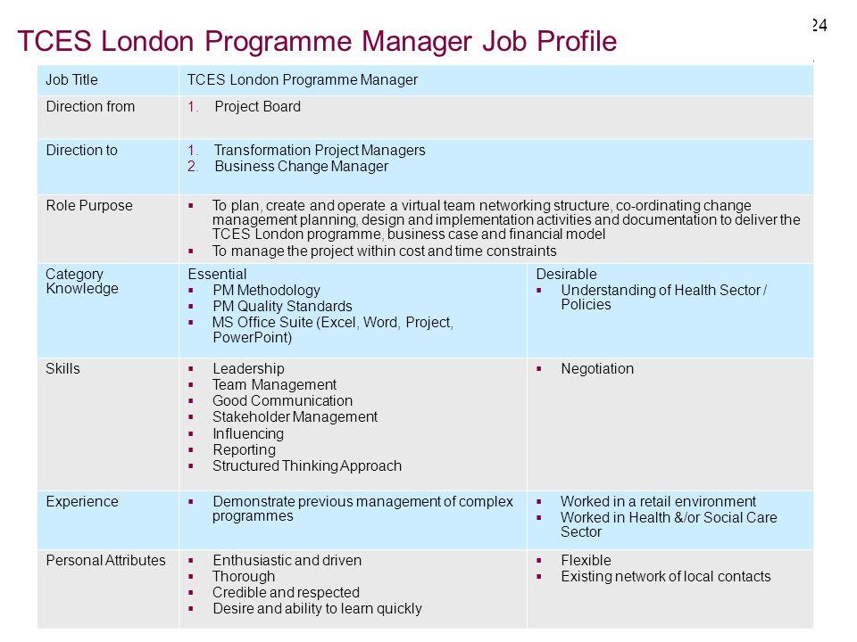 TCES London Programme Manager Job Profile
