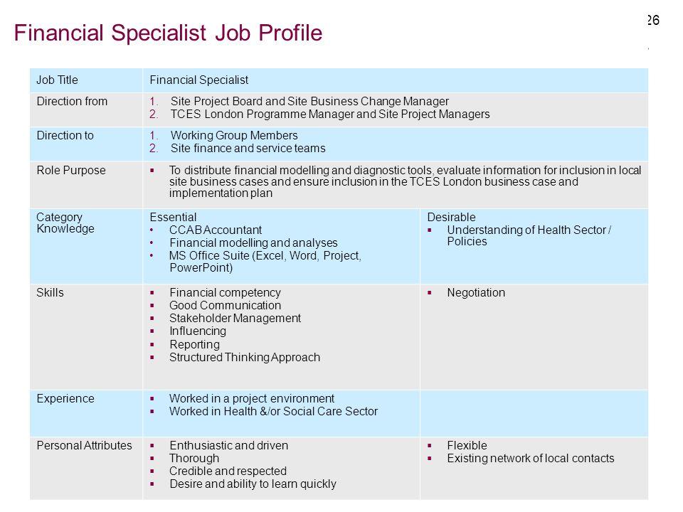Financial Specialist Job Profile